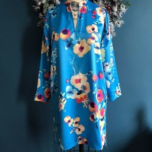 Beautiful Printed Satin Tunic/ Sleepshirt